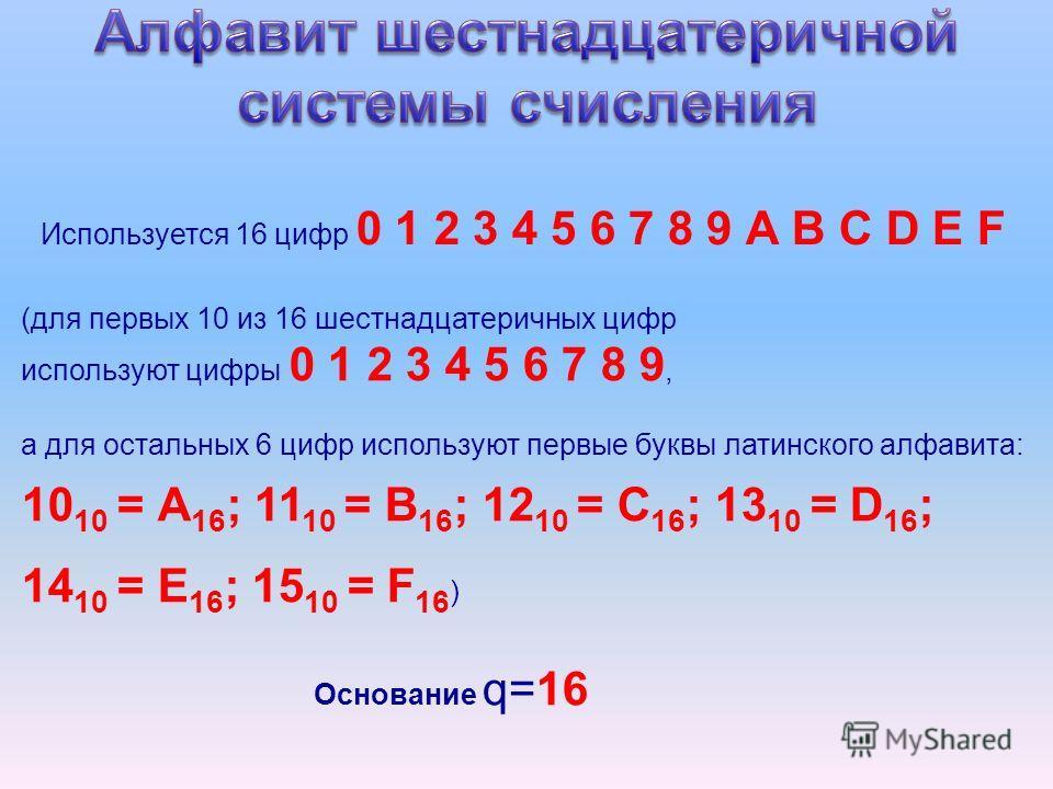 Используется 16 цифр 0 1 2 3 4 5 6 7 8 9 А B C D E F Основание q=16 (для первых 10 из 16 шестнадцатеричных цифр используют цифры 0 1 2 3 4 5 6 7 8 9, а для остальных 6 цифр используют первые буквы латинского алфавита: 10 10 = А 16 ; 11 10 = B 16 ; 12