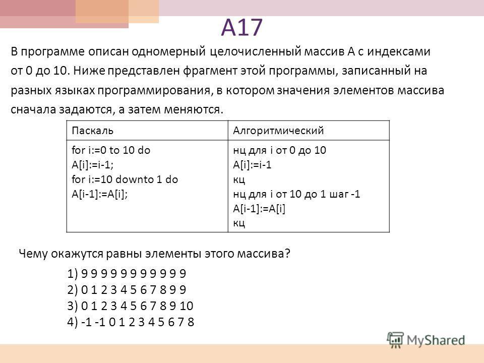 А 17 В программе описан одномерный целочисленный массив A с индексами от 0 до 10. Ниже представлен фрагмент этой программы, записанный на разных языках программирования, в котором значения элементов массива сначала задаются, а затем меняются. Паскаль