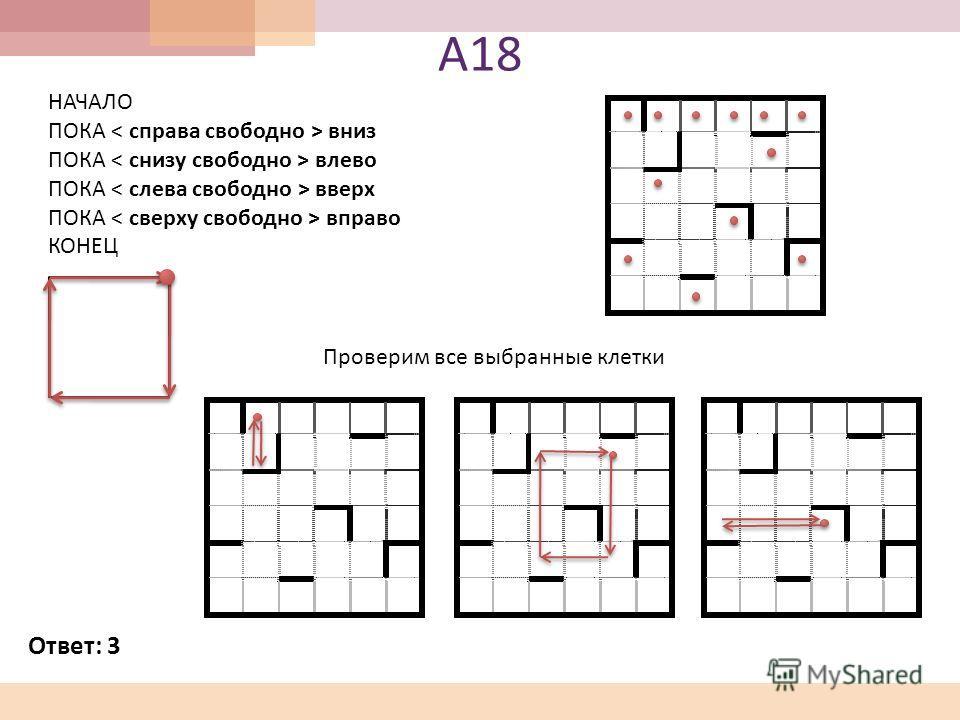 А 18 Проверим все выбранные клетки НАЧАЛО ПОКА вниз ПОКА влево ПОКА вверх ПОКА вправо КОНЕЦ Ответ : 3