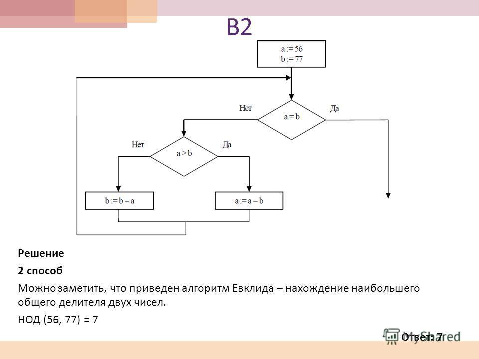 В2В2 Решение 2 способ Можно заметить, что приведен алгоритм Евклида – нахождение наибольшего общего делителя двух чисел. НОД (56, 77) = 7 Ответ: 7