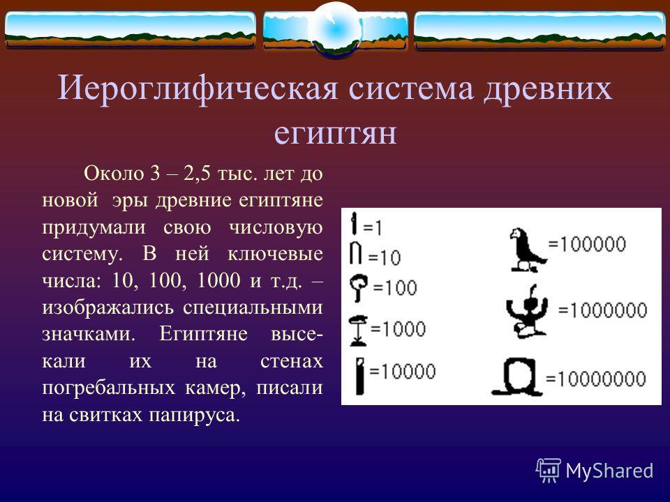 Иероглифическая система древних египтян Около 3 – 2,5 тыс. лет до новой эры древние египтяне придумали свою числовую систему. В ней ключевые числа: 10, 100, 1000 и т.д. – изображались специальными значками. Египтяне высе- кали их на стенах погребальн