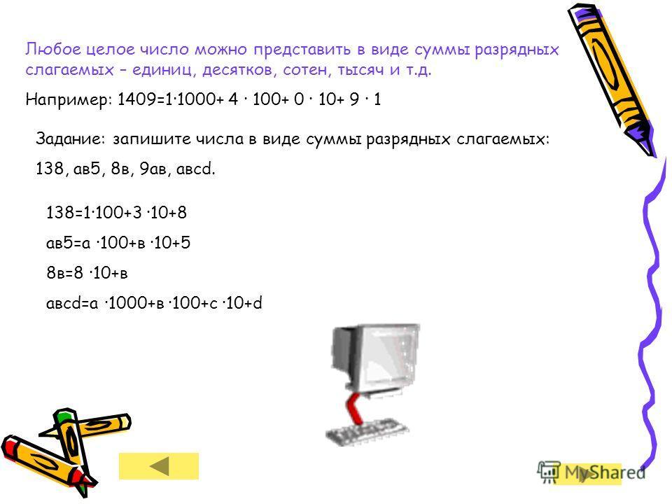 Любое целое число можно представить в виде суммы разрядных слагаемых – единиц, десятков, сотен, тысяч и т.д. Например: 1409=1·1000+ 4 · 100+ 0 · 10+ 9 · 1 Задание: запишите числа в виде суммы разрядных слагаемых: 138, ав 5, 8 в, 9 ав, авсd. 138=1·100