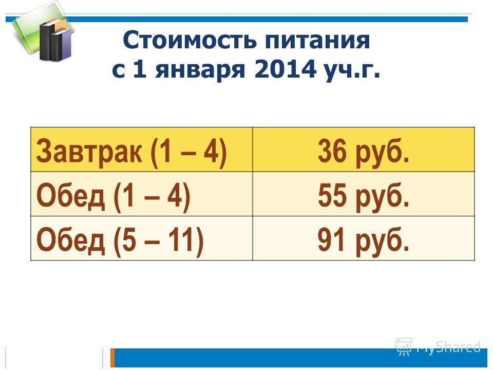 Стоимость питания с 1 января 2014 уч.г. Завтрак (1 – 4)36 руб. Обед (1 – 4)55 руб. Обед (5 – 11)91 руб.