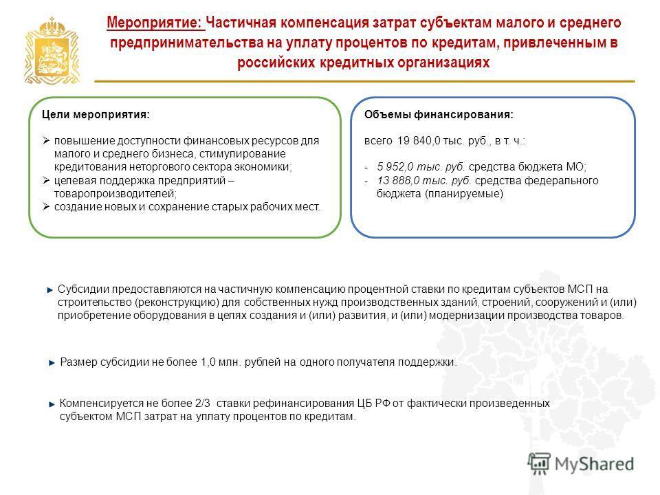 Мероприятие: Частичная компенсация затрат субъектам малого и среднего предпринимательства на уплату процентов по кредитам, привлеченным в российских кредитных организациях Цели мероприятия: повышение доступности финансовых ресурсов для малого и средн