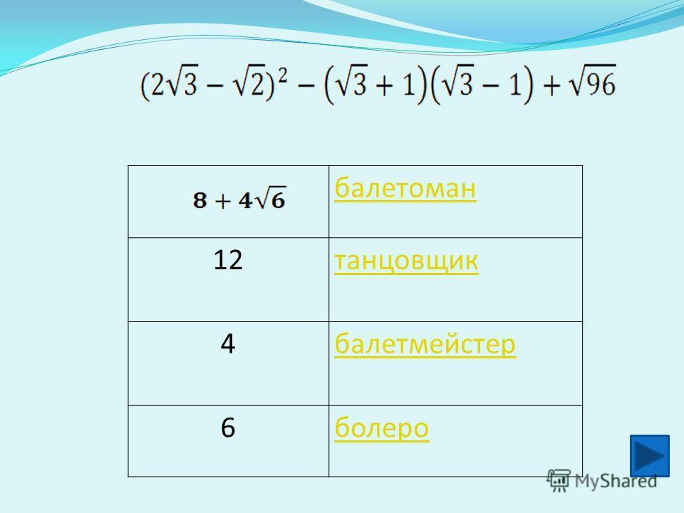 балетоман 12 танцовщик 4 балетмейстер 6 болеро