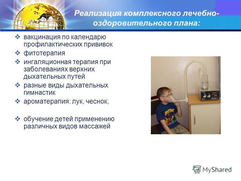 LOGO Реализация комплексного лечебно- оздоровительного плана: вакцинация по календарю профилактических прививок фитотерапия ингаляционная терапия при заболеваниях верхних дыхательных путей разные виды дыхательных гимнастик ароматерапия: лук, чеснок,