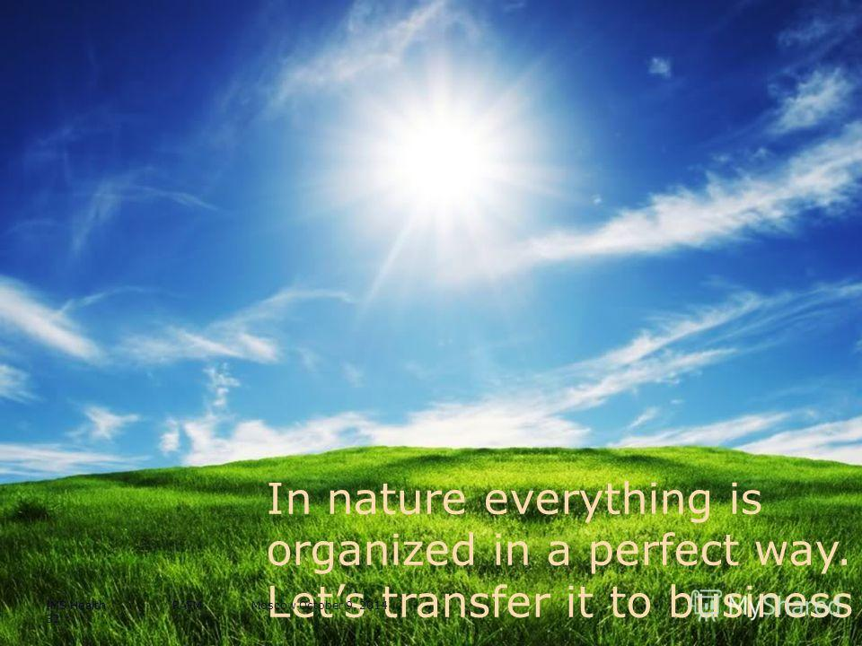 In nature everything is organized in a perfect way. Lets transfer it to business IMS Health RAFM Moscow October 9, 2014 32