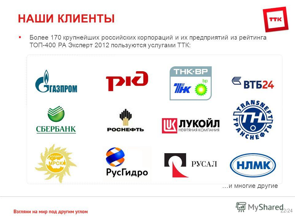 НАШИ КЛИЕНТЫ 22/24 Более 170 крупнейших российских корпораций и их предприятий из рейтинга ТОП-400 РА Эксперт 2012 пользуются услугами ТТК: …и многие другие