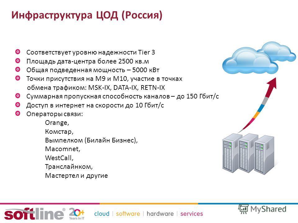 Инфраструктура ЦОД (Россия) Соответствует уровню надежности Tier 3 Площадь дата-центра более 2500 кв.м Общая подведенная мощность – 5000 к Вт Точки присутствия на М9 и М10, участие в точках обмена трафиком: MSK-IX, DATAIX, RETNIX Суммарная пропускн