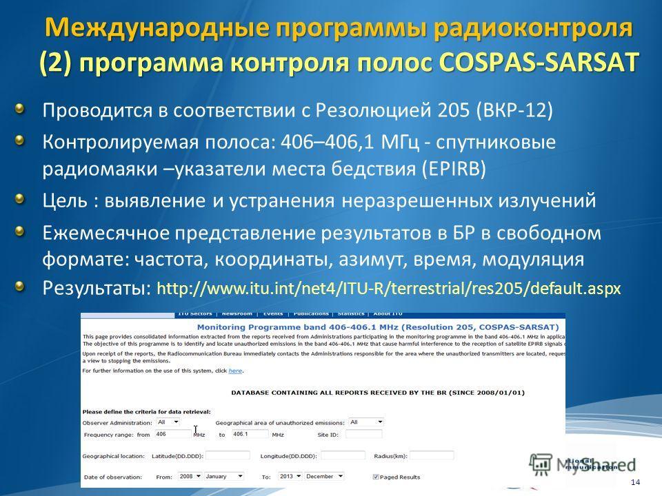 Международные программы радиоконтроля (2) программа контроля полос COSPAS-SARSAT Проводится в соответствии с Резолюцией 205 (ВКР-12) Контролируемая полоса: 406–406,1 МГц - спутниковые радиомаяки –указатели места бедствия (EPIRB) Цель : выявление и ус