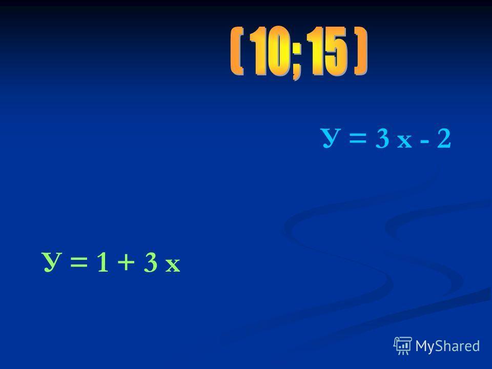 У = 3 х - 2 У = 1 + 3 х