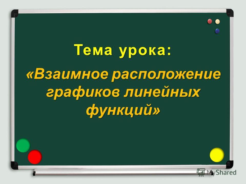 Тема урока: «Взаимное расположение графиков линейных функций»