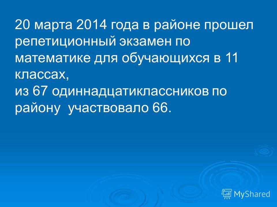 20 марта 2014 года в районе прошел репетиционный экзамен по математике для обучающихся в 11 классах, из 67 одиннадцатиклассников по району участвовало 66.