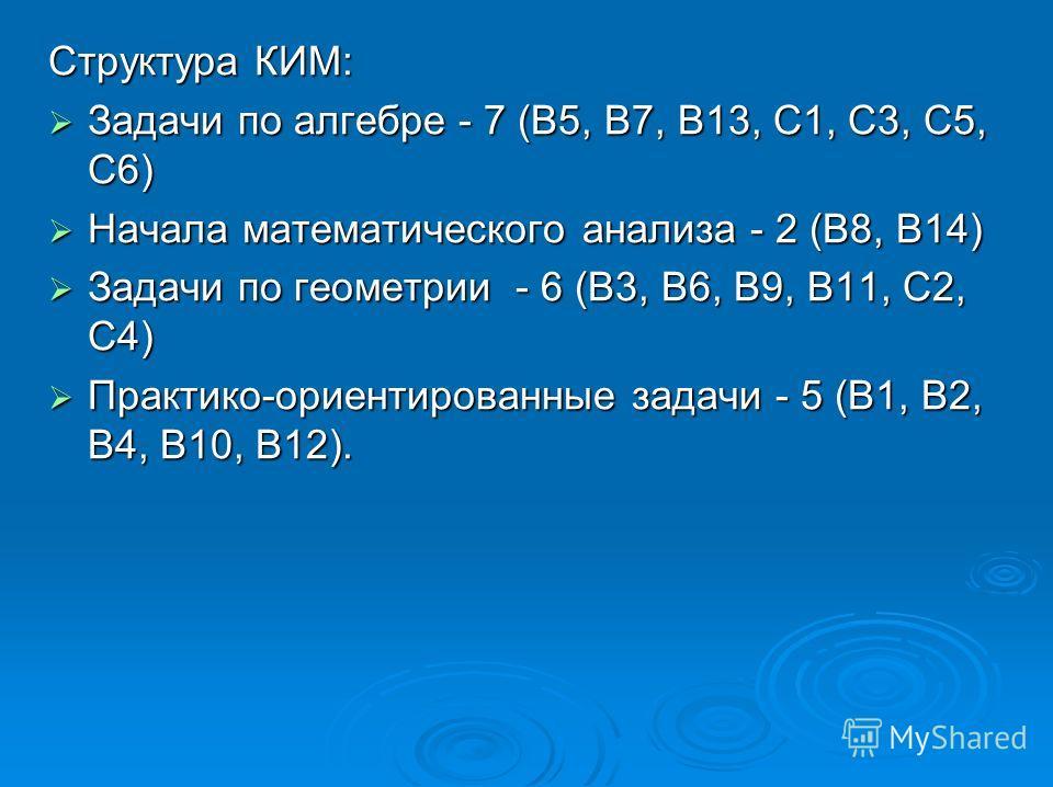 Структура КИМ: Задачи по алгебре - 7 (В5, В7, В13, С1, С3, С5, С6) Задачи по алгебре - 7 (В5, В7, В13, С1, С3, С5, С6) Начала математического анализа - 2 (В8, В14) Начала математического анализа - 2 (В8, В14) Задачи по геометрии - 6 (В3, В6, В9, В11,