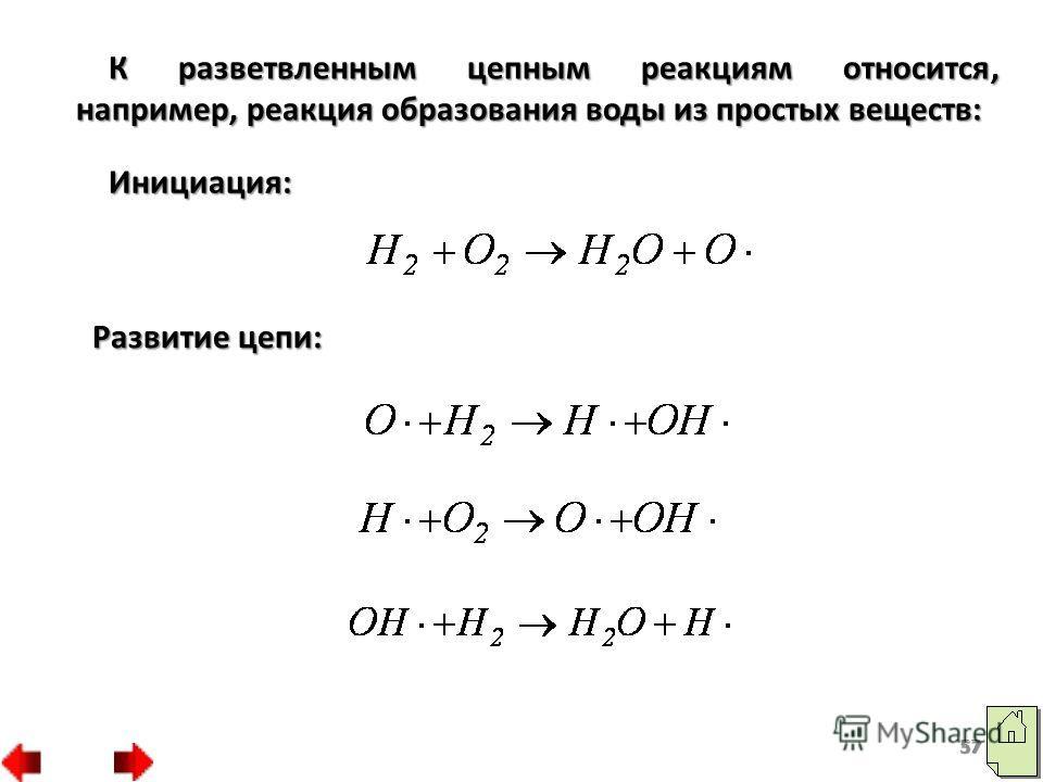 К разветвленным цепным реакциям относится, например, реакция образования воды из простых веществ: Инициация: Развитие цепи: 57