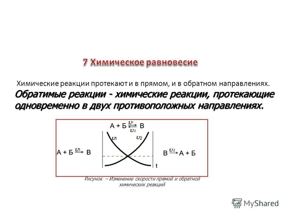 Обратимые реакции - химические реакции, протекающие одновременно в двух противоположных направлениях. Рисунок – Изменение скорости прямой и обратной химических реакций Химические реакции протекают и в прямом, и в обратном направлениях.