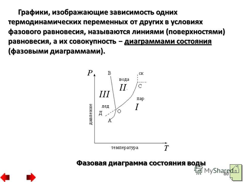 80 Фазовая диаграмма состояния воды Графики, изображающие зависимость одних термодинамических переменных от других в условиях фазового равновесия, называются линиями (поверхностями) равновесия, а их совокупность диаграммами состояния (фазовыми диагра