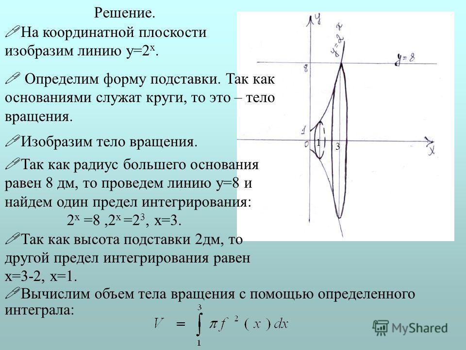 Решение. Так как радиус большего основания равен 8 дм, то проведем линию у=8 и найдем один предел интегрирования: 2 х =8,2 х =2 3, х=3. Так как высота подставки 2 дм, то другой предел интегрирования равен х=3-2, х=1. Вычислим объем тела вращения с по