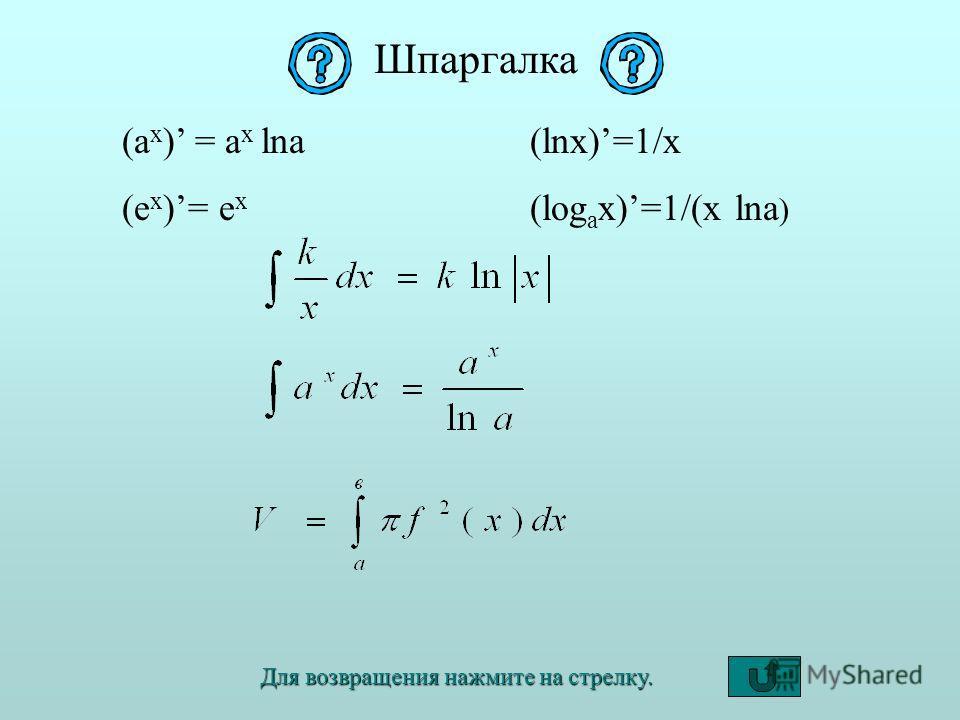 Шпаргалка (a x ) = a x lna (e x )= e x (lnx)=1/x (log a x)=1/(x lna ) Для возвращения нажмите на стрелку.
