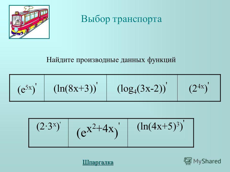 (е 5x ) ' (ln(8x+3)) ' (log 4 (3x-2)) ' (2 4x ) ' (2·3 x ) ' (e x 2 +4x ) ' (ln(4x+5) 3 ) ' Найдите производные данных функций Выбор транспорта Шпаргалка