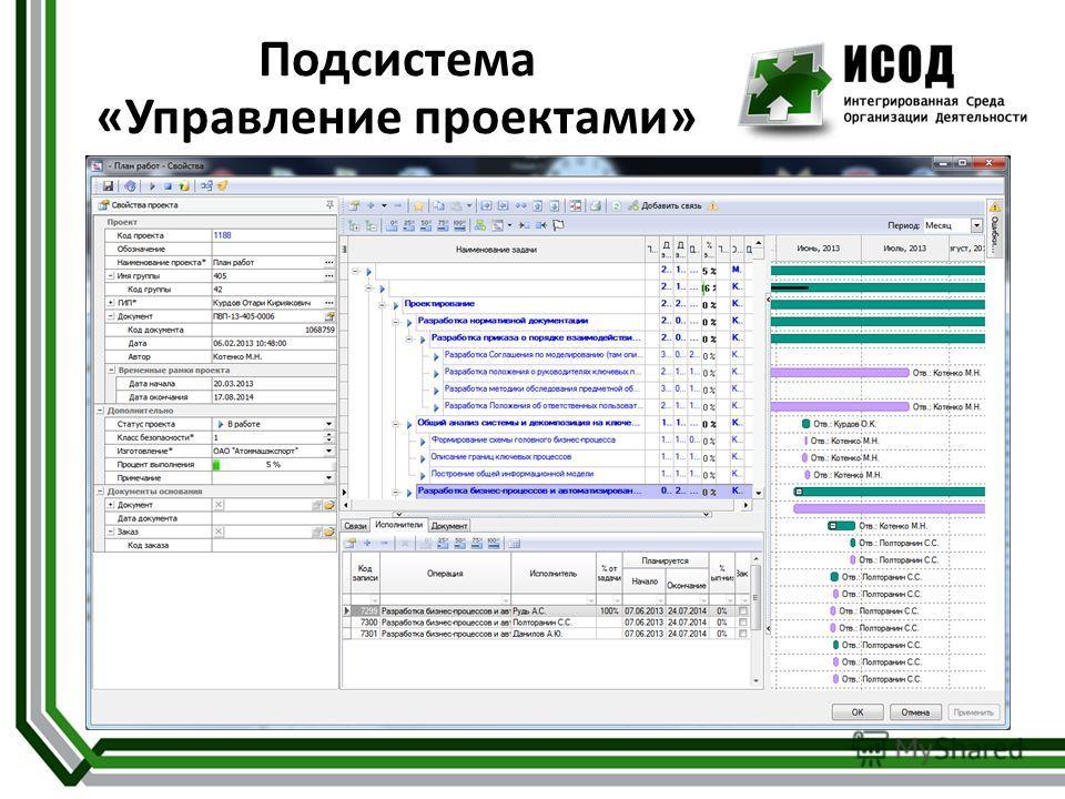 Подсистема «Управление проектами»