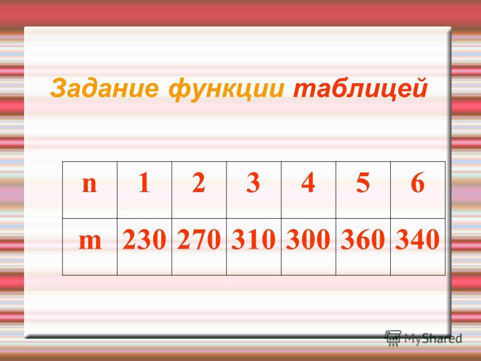 Задание функции таблицей n123456 m230270310300360340