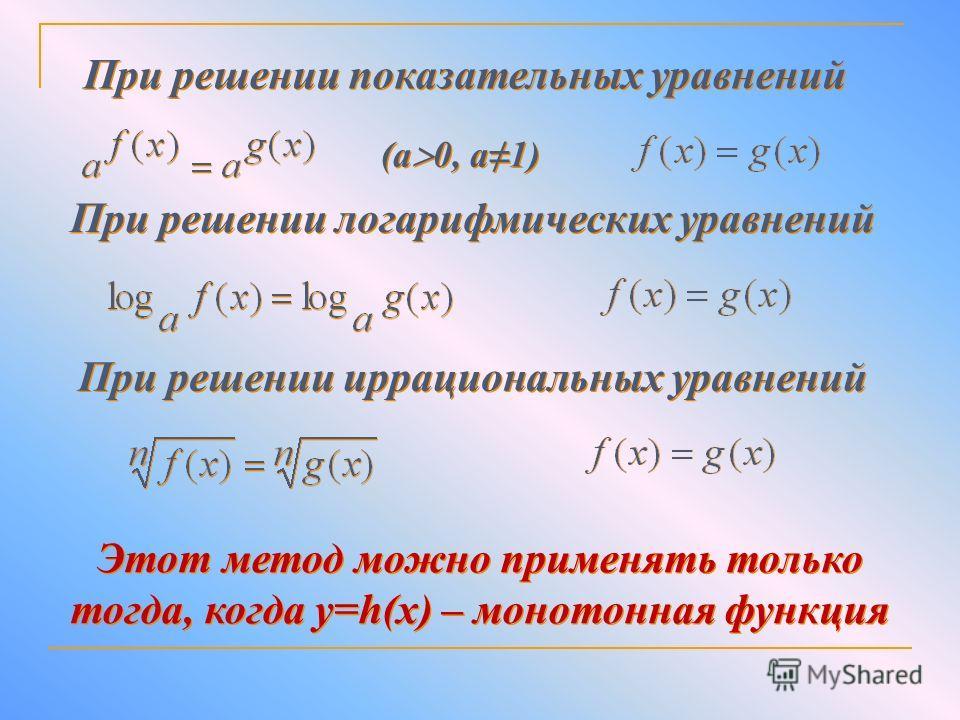 При решении показательных уравнений (а 0, а 1) При решении логарифмических уравнений При решении иррациональных уравнений Этот метод можно применять только тогда, когда y=h(x) – монотонная функция