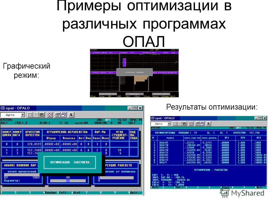 Примеры оптимизации в различных программах ОПАЛ Графический режим: Результаты оптимизации: