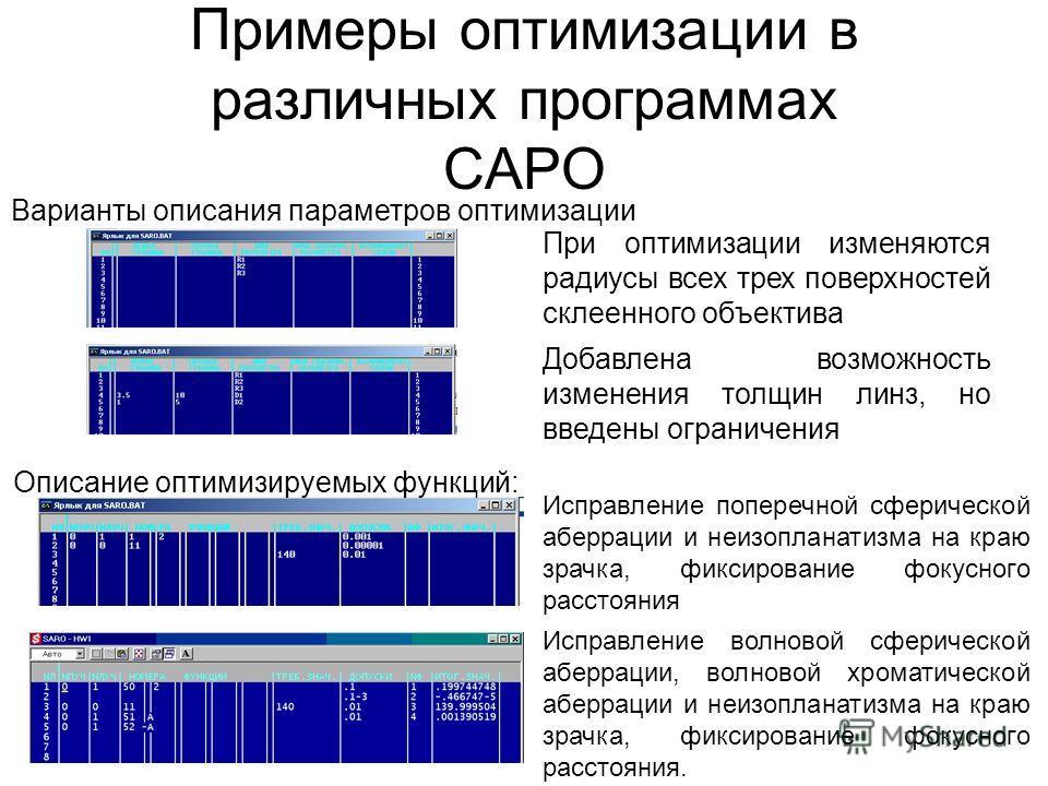 Примеры оптимизации в различных программах САРО Варианты описания параметров оптимизации При оптимизации изменяются радиусы всех трех поверхностей склеенного объектива Добавлена возможность изменения толщин линз, но введены ограничения Описание оптим