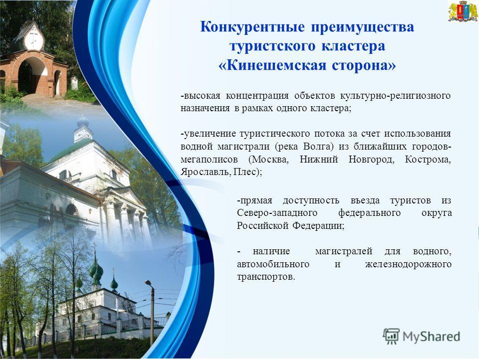 Конкурентные преимущества туристского кластера «Кинешемская сторона» -высокая концентрация объектов культурно-религиозного назначения в рамках одного кластера; -увеличение туристического потока за счет использования водной магистрали (река Волга) из