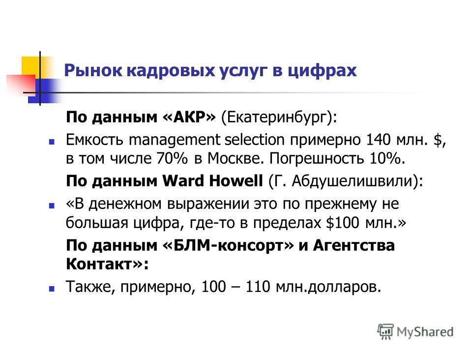 Рынок кадровых услуг в цифрах По данным «АКР» (Екатеринбург): Емкость management selection примерно 140 млн. $, в том числе 70% в Москве. Погрешность 10%. По данным Ward Howell (Г. Абдушелишвили): «В денежном выражении это по прежнему не большая цифр