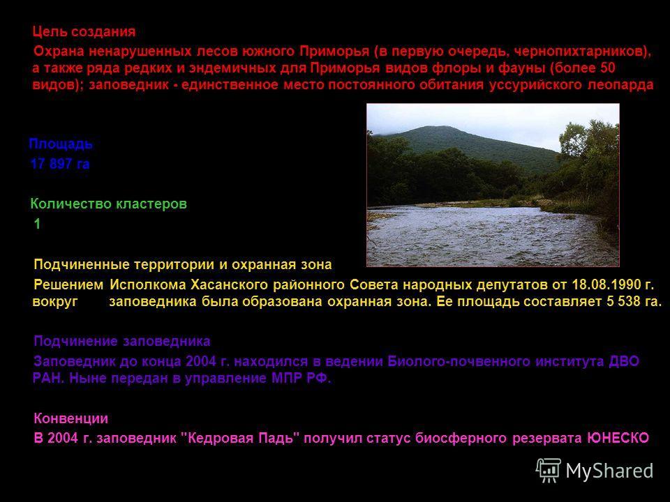 Цель создания Охрана ненарушенных лесов южного Приморья (в первую очередь, чернопихтарников), а также ряда редких и эндемичных для Приморья видов флоры и фауны (более 50 видов); заповедник - единственное место постоянного обитания уссурийского леопар