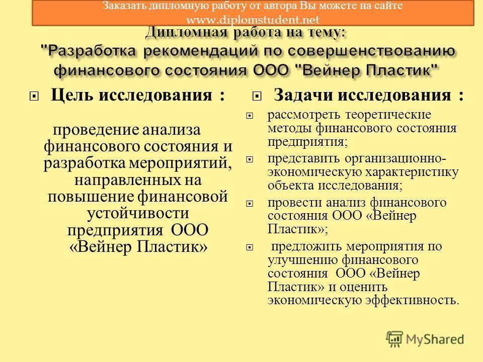 Презентация на тему Цель исследования проведение анализа  1 Цель исследования проведение анализа финансового состояния