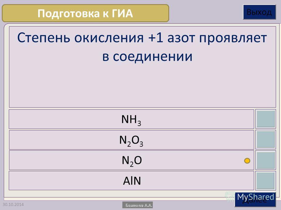 30.10.2014 Степень окисления +1 азот проявляет в соединении NH 3 N2O3N2O3 N2ON2O AlN Подготовка к ГИА