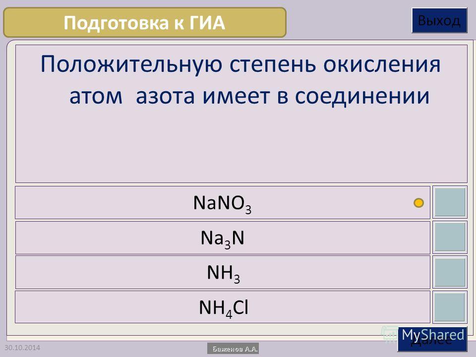 30.10.2014 Положительную степень окисления атом азота имеет в соединении NaNO 3 Na 3 N NH 3 NH 4 Cl Подготовка к ГИА