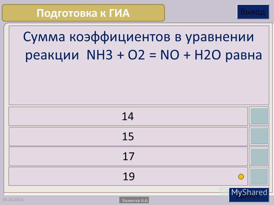 30.10.2014 Сумма коэффициентов в уравнении реакции NH3 + O2 = NO + H2O равна 14 15 17 19 Подготовка к ГИА