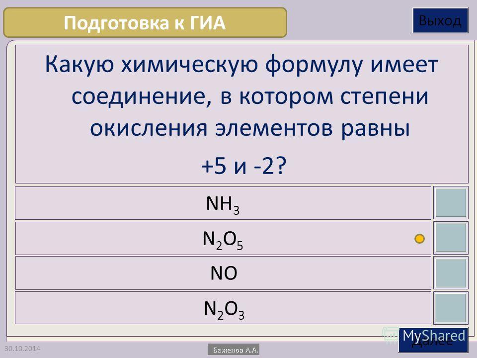 30.10.2014 Какую химическую формулу имеет соединение, в котором степени окисления элементов равны +5 и -2? NH 3 N2O5N2O5 NO N2O3N2O3 Подготовка к ГИА