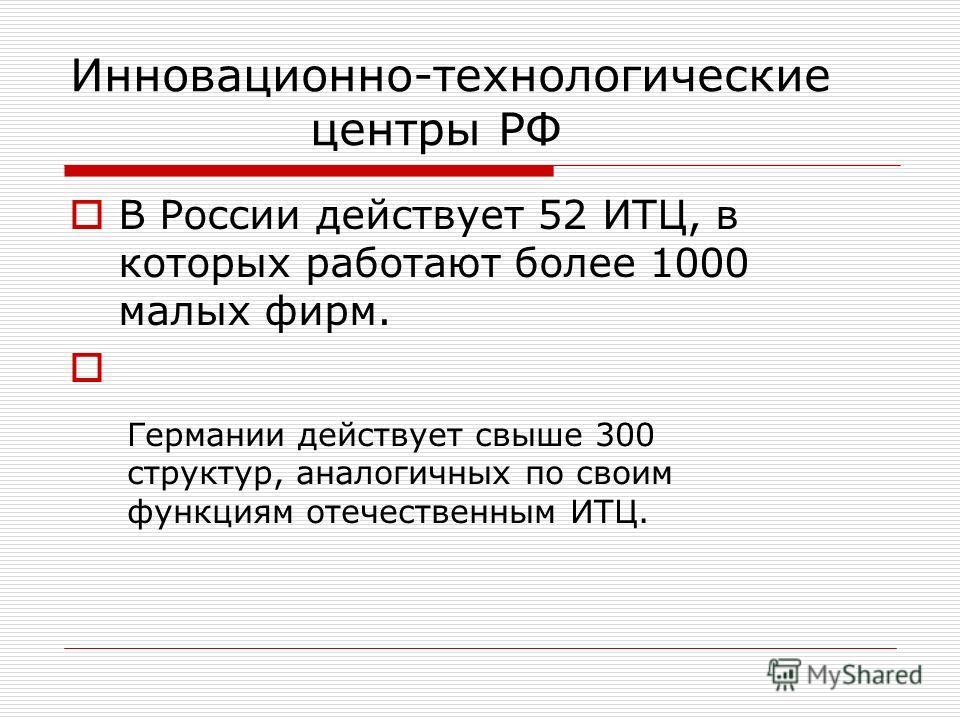 Инновационно-технологические центры РФ В России действует 52 ИТЦ, в которых работают более 1000 малых фирм. Германии действует свыше 300 структур, аналогичных по своим функциям отечественным ИТЦ.