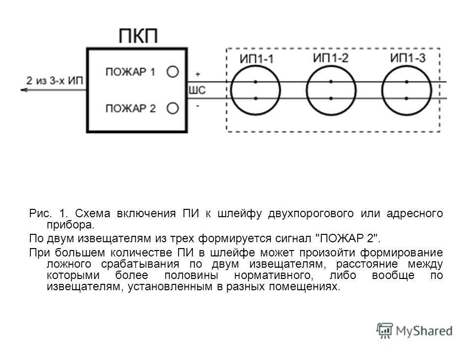 Рис. 1. Схема включения ПИ к шлейфу двухпорогового или адресного прибора. По двум извещателям из трех формируется сигнал