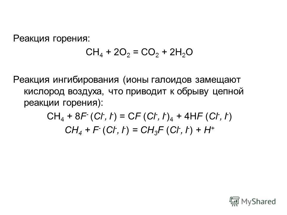 Реакция горения: СH 4 + 2O 2 = CO 2 + 2H 2 O Реакция ингибирования (ионы галоидов замещают кислород воздуха, что приводит к обрыву цепной реакции горения): СH 4 + 8F - (Cl -, I - ) = CF (Cl -, I - ) 4 + 4HF (Cl -, I - ) CH 4 + F - (Cl -, I - ) = CH 3