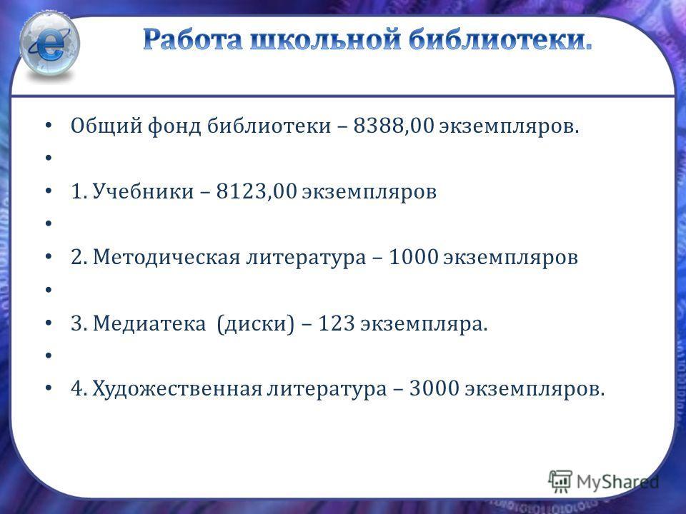 Общий фонд библиотеки – 8388,00 экземпляров. 1. Учебники – 8123,00 экземпляров 2. Методическая литература – 1000 экземпляров 3. Медиатека (диски) – 123 экземпляра. 4. Художественная литература – 3000 экземпляров.