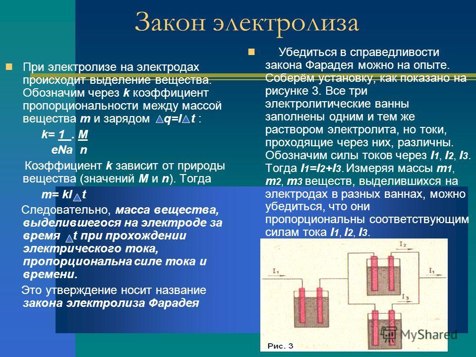 Закон электролиза При электролизе на электродах происходит выделение вещества. Обозначим через k коэффициент пропорциональности между массой вещества m и зарядом q=I t : k= 1. M eNa n Коэффициент k зависит от природы вещества (значений M и n). Тогда