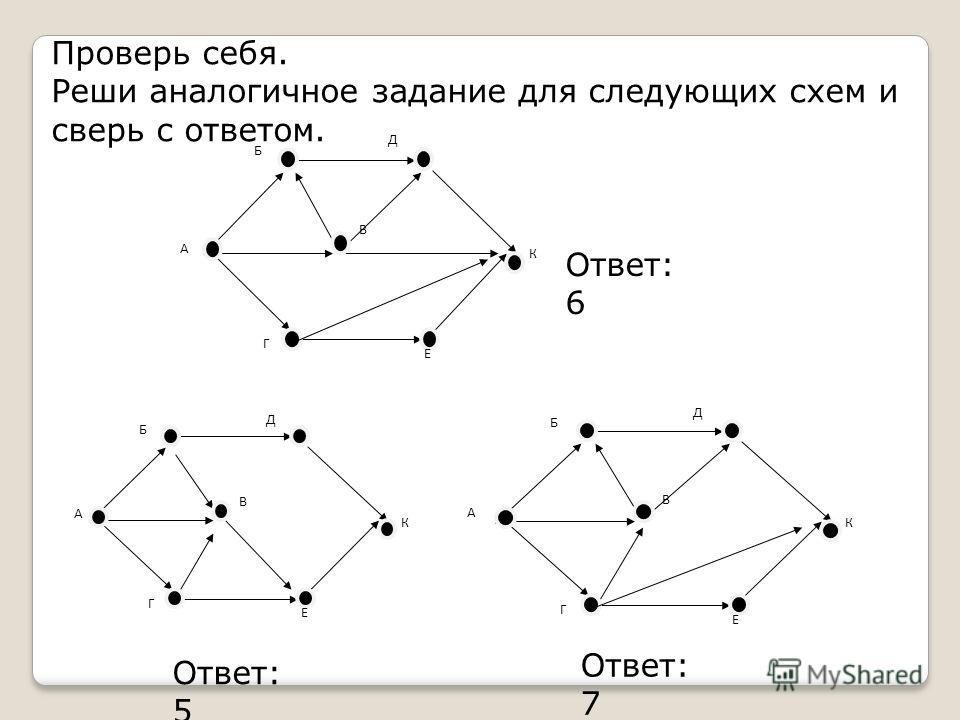 Проверь себя. Реши аналогичное задание для следующих схем и сверь с ответом. А К Б Д В Г Е К А Б Д В Г Е К Б Д В Г Е А Ответ: 6 Ответ: 5 Ответ: 7