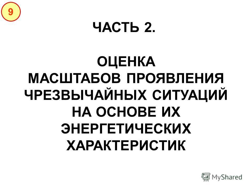 ЧАСТЬ 2. 9 ОЦЕНКА МАСШТАБОВ ПРОЯВЛЕНИЯ ЧРЕЗВЫЧАЙНЫХ СИТУАЦИЙ НА ОСНОВЕ ИХ ЭНЕРГЕТИЧЕСКИХ ХАРАКТЕРИСТИК