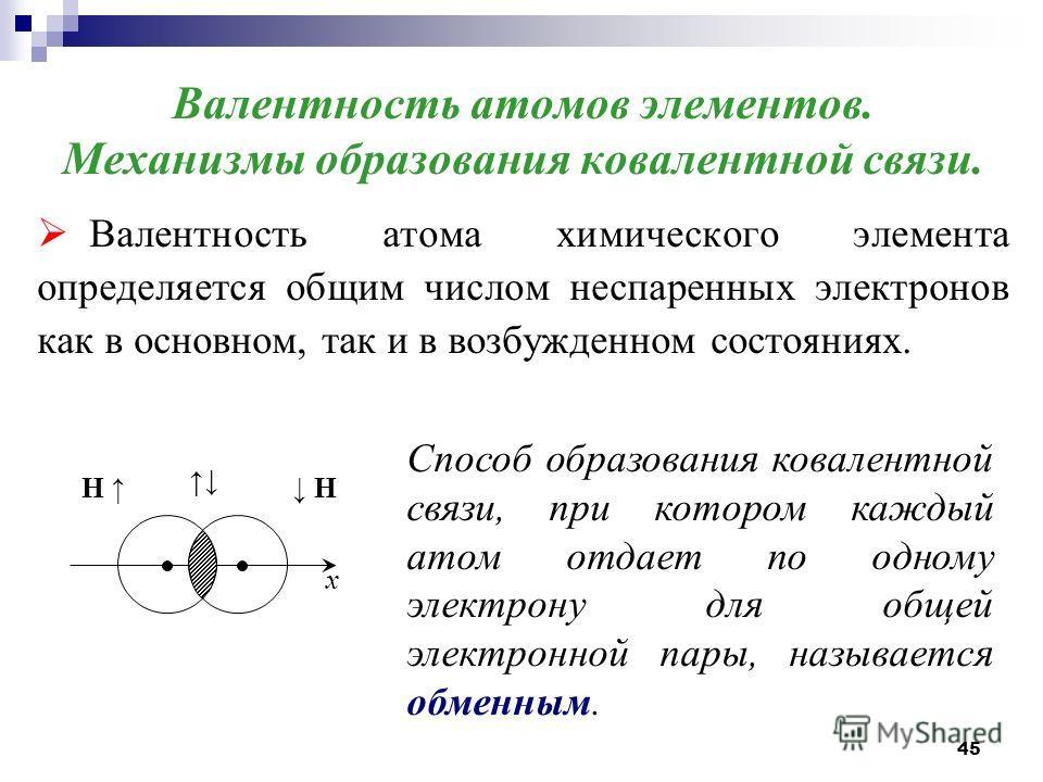 45 Валентность атомов элементов. Механизмы образования ковалентной связи. Валентность атома химического элемента определяется общим числом неспаренных электронов как в основном, так и в возбужденном состояниях. x H H Способ образования ковалентной св