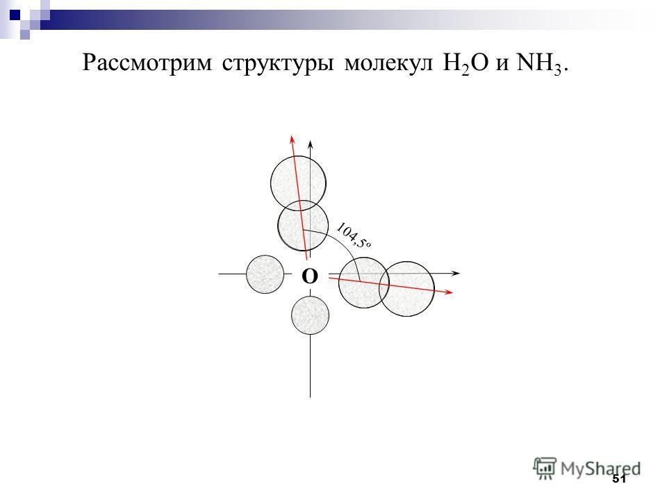 51 Рассмотрим структуры молекул H 2 O и NH 3. O 104,5º