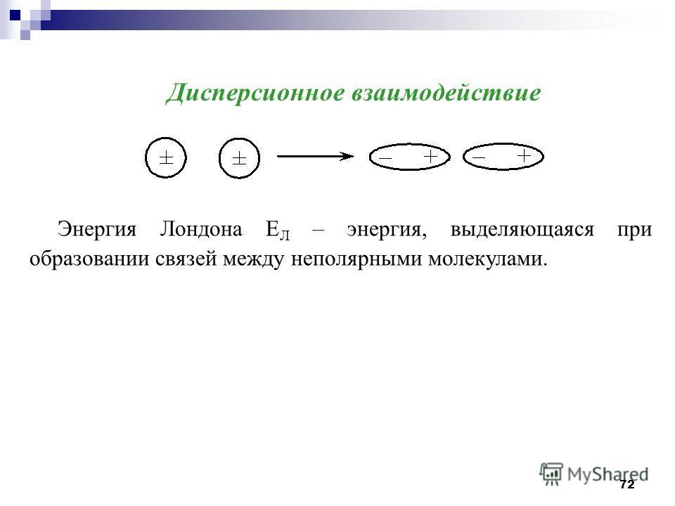 72 Дисперсионное взаимодействие Энергия Лондона Е Л – энергия, выделяющаяся при образовании связей между неполярными молекулами.