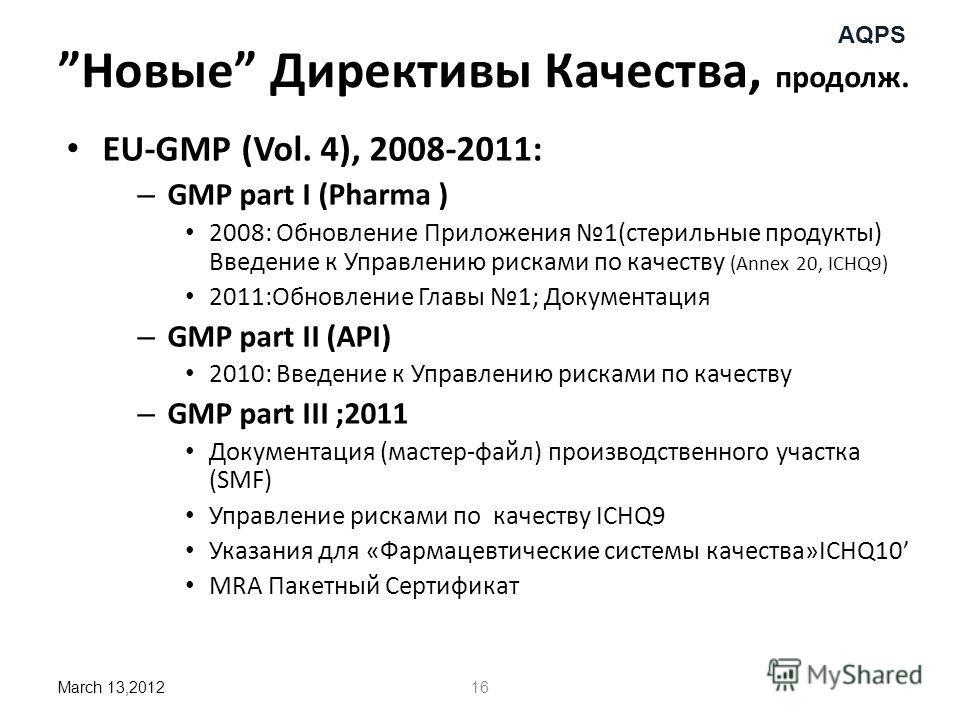 AQPS Новые Директивы Качества, продолж. EU-GMP (Vol. 4), 2008-2011: – GMP part I (Pharma ) 2008: Обновление Приложения 1(стерильные продукты) Введение к Управлению рисками по качеству (Annex 20, ICHQ9) 2011:Обновление Главы 1; Документация – GMP part