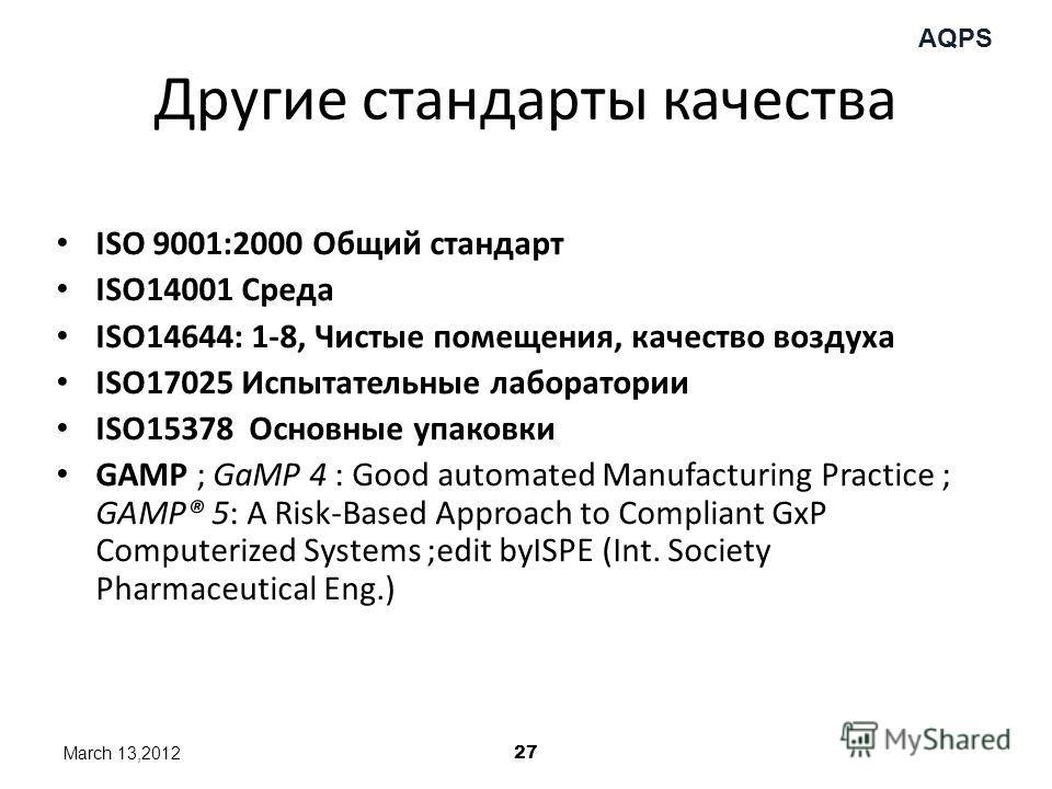 AQPS Другие стандарты качества ISO 9001:2000 Общий стандарт ISO14001 Среда ISO14644: 1-8, Чистые помещения, качество воздуха ISO17025 Испытательные лаборатории ISO15378 Основные упаковки GAMP ; GaMP 4 : Good automated Manufacturing Practice ; GAMP® 5