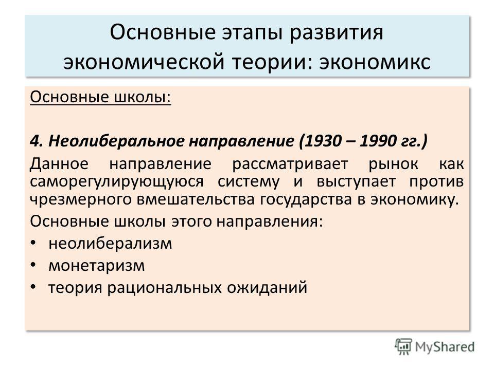 Основные этапы развития экономической теории: экономикс Основные школы: 4. Неолиберальное направление (1930 – 1990 гг.) Данное направление рассматривает рынок как саморегулирующуюся систему и выступает против чрезмерного вмешательства государства в э